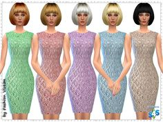 Floral Brocade Lace Dress at Just For Your Sims • Sims 4 Updates