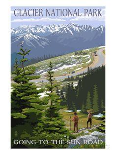 Glacier National Park - Going to the Sun Road and Hikers Láminas por Lantern Press en AllPosters.es