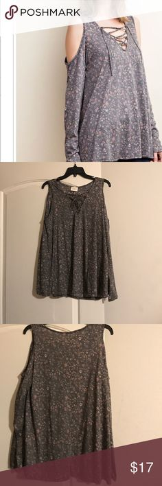 "Beautiful 143 Story Cold Shoulder! Floral and feminine light weight cold shoulder top with lace up front. Excellent condition. Its a loose knit small. 17"" underarm to underarm. 18"" from the bottom of the lace up to hem. Excellent condition, just cleaning the closet out!  Reasonable offers are welcome!🌺🌺🌸🌸💜💜. Color in first pic is true! 143 Story Tops Tunics"