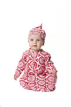 essential red | classic infant sacque + knot hat | flower