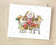 Canine Carolers - funny Christmas card, Pug, French Bulldog and English Bulldog Christmas cards, cute holiday card with dogs by Inkpug