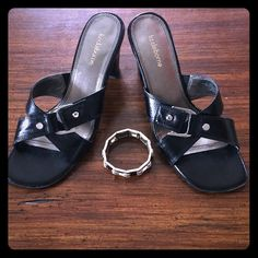 LIZ CLAIBORNE  Lucy Strapped Sandals - 8.5 Gently worn faux leather wide strap sandals.  Silver tone hardware adds an edgy look to the patent straps.  Rubber sole and heels have a bit of marring, unnoticeable when worn.  Sized an 8, but these run large. Liz Claiborne Shoes Sandals