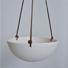 Hanging Ceramic Planter, Smooth Finish Porcelain with Leather Cord Size Large Fine Porcelain, Porcelain Ceramics, Ceramic Pottery, Ceramic Art, White Ceramics, Ceramic Planters, Planter Pots, Large Hanging Planters, Art Diy