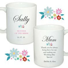 Personalised wedding mugs, Mother of the bride, Mother of the groom, wedding favour, by cjcprint on Etsy Wedding Mugs, Our Wedding Day, Wedding Favours, Dream Wedding, Personalized Mugs, Personalized Wedding, Mother Of The Bride, Favors, Birthdays