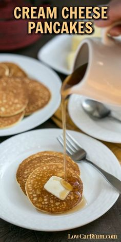 If you're on a keto diet, you'll love this low carb cream cheese pancakes recipe. It can help you get through induction or weight loss phase. | LowCarbYum.com via @lowcarbyum