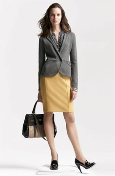 Sweater Jacket, Blouse & Pencil Skirt