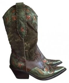 Donald J. Pliner Leather Couture Western Boot Green Boots