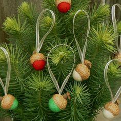 Natural Christmas Ornaments Acorns, Holiday Tree Decor, 18 Hanging Decorations, needle felted, Holiday decoration. $36.00, via Etsy.