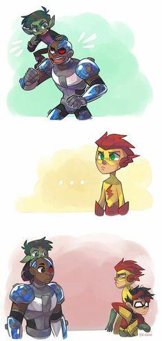 Kid flash x Robin Beast Boy, Robin Starfire, Young Justice, Nightwing, Batgirl, Warner Bros Pictures, Teen Titans Love, Robin Dc, Kid Flash