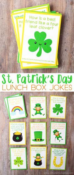 Free Printable St Patricks Day Lunch Box Jokes at St Patricks Day Jokes, St Patricks Day Crafts For Kids, St Patrick's Day Crafts, Saint Patricks, St Patricks Day Snacks For School, Kids Lunch Box Notes, Lunch Box Jokes, St Patrick Day Activities, St Patrick's Day Decorations