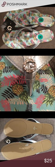 Guess Pineapple Hawaiian Flip Flops Sandals silver Guess Pineapple Hawaiian Flip Flops Sandals silver rhinestone new Size 8 brand new with tags Guess Shoes Sandals