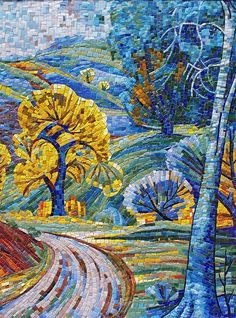 Mosaic path, trees scene