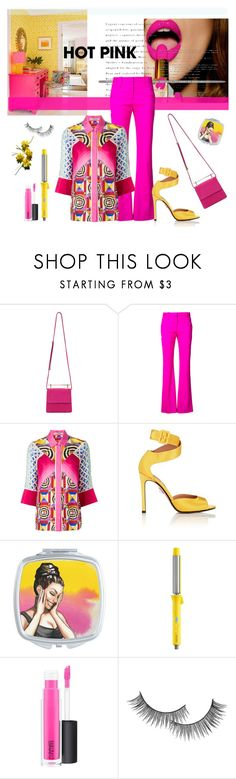 """""""hot pink!"""" by art-gives-me-life ❤ liked on Polyvore featuring M2Malletier, Altuzarra, Mary Katrantzou, Samuele Failli, Drybar, MAC Cosmetics, Forever 21, contestentry and NYFWHotPink"""