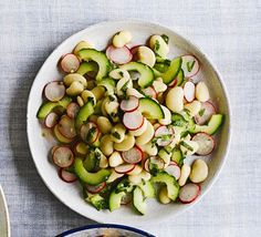 simple butter bean, cucumber + radish salad with lemon-mint dressing Bbc Good Food Recipes, Vegetarian Recipes, Healthy Recipes, Healthy Options, Salad Recipes, Canned Butter, Radish Salad, Butter Beans, Winter Vegetables