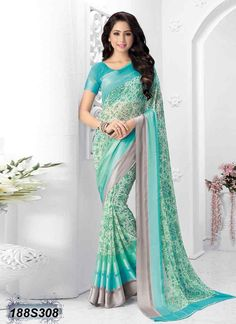 Desirable Off White and Blue Coloured Georgette Saree