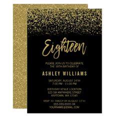 #glitter - #Modern Black Gold Faux Glitter 18th Birthday Card
