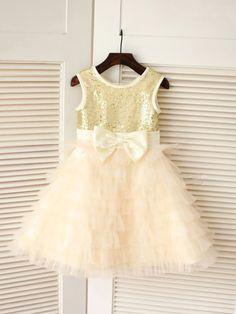 A-line/Princess Scoop Sleeveless Bowknot Floor-length Tulle Dresses