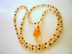 Long gemstone necklace Tiger eye  mother of pearls by Iridonousa