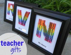 Homemade teacher gift...how to make a crayon monogram.