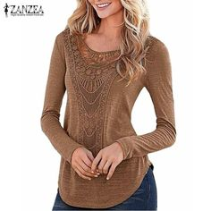 Women Blouses Long Sleeve Hollow Out Slim Fit Shirts Leisure Solid Tee Tops