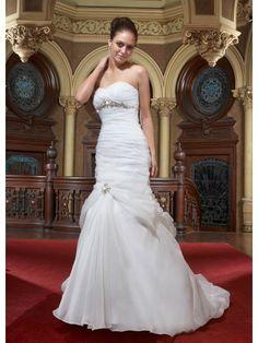 Organza Strapless Sweetheart Ruffled Bodice A-line Wedding Dress