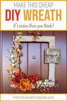 This DIY wreath is easier than you think! Learn how to make this cheap but gorgeous wreath with my step-by-step instructions. The secret? A thrifted picture frame! Cheap Wreaths, Easy Fall Wreaths, Diy Spring Wreath, Diy Wreath, Mesh Wreaths, Holiday Wreaths, Yarn Wreaths, Tulle Wreath, Winter Wreaths