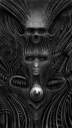 Digital bio organic by Marshall bennett Dark Fantasy Art, Fantasy Artwork, Biomech Tattoo, Hr Giger Art, Alien Tattoo, Beautiful Dark Art, Satanic Art, Alien Concept Art, Skull Wallpaper