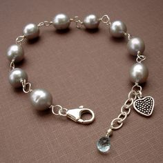 Bridesmaid Gift Option - Gray Pearl Bracelet by carrie W designs