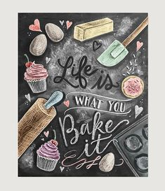 Kitchen Decor - Kitchen Chalkboard Art - Gift for the Baker - Baking Art - Kitchen Art - Illustration Print - For the Bakery - Bakery Art - Cute chalkboard art print for a Shabby Chic kitchen! Lily And Val, Baking Quotes, Baking Puns, Kitchen Prints, Kitchen Artwork, Blackboards, Shabby Chic Furniture, Shabby Chic Art, Shabby Chic Kitchen Decor