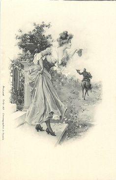 "Photo from album ""Прекрасный образ . Art Vintage, Vintage Drawing, Decoupage Vintage, Vintage Ephemera, Vintage Postcards, Vintage Images, Vintage Prints, Vintage Ladies, Victorian Paintings"