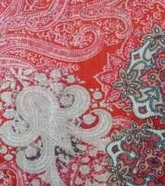Tissue Linen Rayon Paisley Medallion Orange Tissue Linen Rayon Paisley Medallion Orange ,