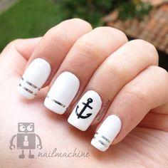 <3 this sleek nautical themed nail design #white #black #anchor #silver