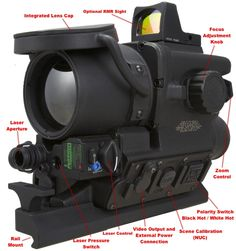 Details of the features of the FLIR / Trijicon T60 ATWS clip on thermal rifle scope with RMR reflex sight mounted on top.