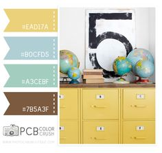 School yellow with touches of blue, aqua - use a soft gray instead of brown and a pale birch Colour Pallete, Colour Schemes, Color Palettes, Color Combos, Color Patterns, Decorating Small Spaces, Decorating Ideas, Decor Ideas, Design Seeds