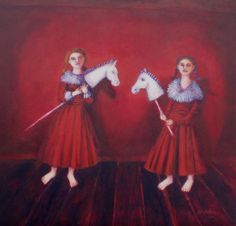 Horse Players  £1850  Image size 30 x 30 cms plus frame