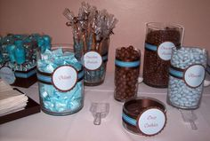 """Photo 1 of Blue & Chocolate Brown / Baby Shower/Sip & See """"Bonachea Baby Shower"""" Baby Shower Candy, Shower Bebe, Baby Shower Games, Shower Party, Baby Shower Parties, Baby Boy Shower, Teddy Bear Party, Teddy Bear Baby Shower, Juegos Baby"""