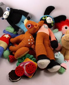 "I love these patterns! ~ See book below ~ ""Amigurumi - Super Happy Crochet Cute"" ~ I've made the deer. See my A is for Amigurumi board, Deery-loo."