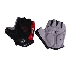 GRIP ACTIVE BICYCLE CYLE HALF SHORT FINGER GLOVES WITH NET SPORTS FITNESS-RED