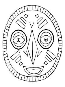 African Mask template.  *Print in Landscape for adult size and Portrait for child size.