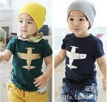 Verão 100% algodão avião crianças, Crianças meninos roupas tops, Criança t-shirt azul 5389(China (Mainland))