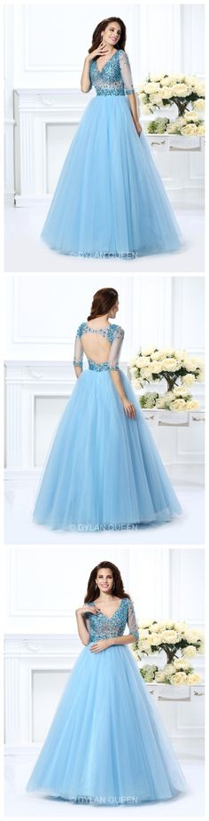 V-neck Ball Gown Beading Net 1/2 Sleeves Long Satin prom Dress