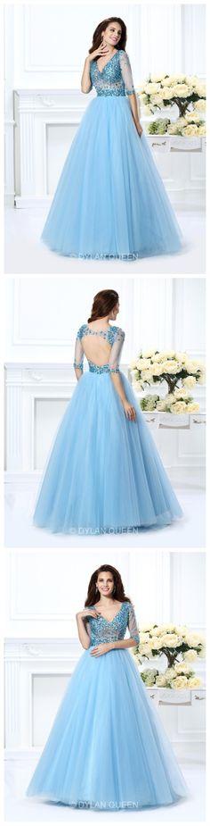 V-neck Ball Gown Beading Net 1/2 Sleeves Long Satin prom Dress