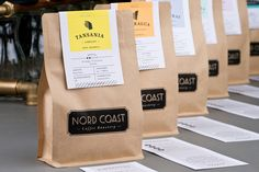 Branding and packaging for Nord Coast Coffee Roastery from Hamburg, Germany Food Packaging Design, Coffee Packaging, Coffee Branding, Brand Packaging, Bottle Packaging, Coffee Label, Coffee Bags, Coffee Coffee, Coffee Island