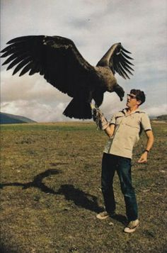 Man with a cinereous vulture 1970