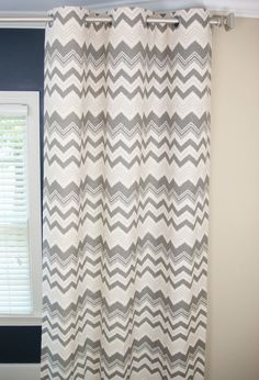 "Pair Of Custom Modern Chevron Ikat Designer Grommet Curtain Drapery Panels 50""Wide x 84"" Long Natural/Gray Blindstitched"
