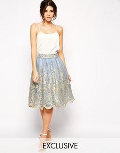 Enlarge Chi Chi London Premium Metallic Lace Full Midi Skirt