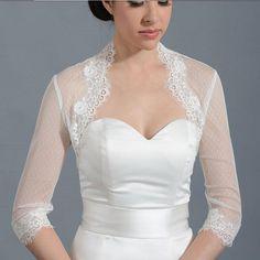 >> Click to Buy << Newest Style  3/4 Long Sleeve Wedding Jacket Vintage White Wedding Lace Applique Bolero Bridal Shrug #Affiliate