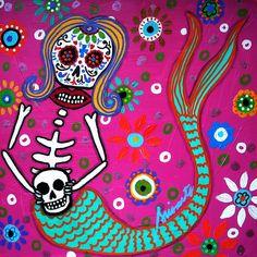Mermaid Day Of The Dead Painting by Pristine Cartera Turkus Day Of The Dead Skull Tattoo, Sugar Skull Art, Sugar Skulls, Day Of The Dead Art, Skull Artwork, Skull Wallpaper, Muse Art, Arte Popular, Mermaid Art