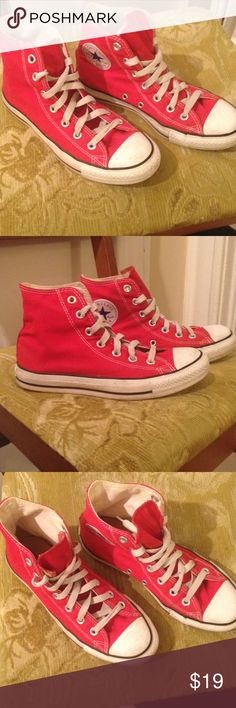 Red converse all star high tops Bright red converse chuck Taylor high tops. A few scuffs on the toes and sides , no rips or major stains though, over all in ok shape. Converse Shoes Sneakers