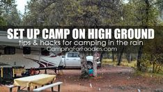 NO FEAR! Our camping hacks rain tips will have you packing a few wet weather camping essentials and planning a few camp rain activities that are fun for camping families! We'll show you how to make a camp rain shelter and the best camp rain gear and camping hacks when rain happens on your tent, camper, travel trailer & RV camping trips! Summer camping essentials kids love, especially when camping rainy days happen. CampingForFoodies rainy day camp cooking tips and recipes too!